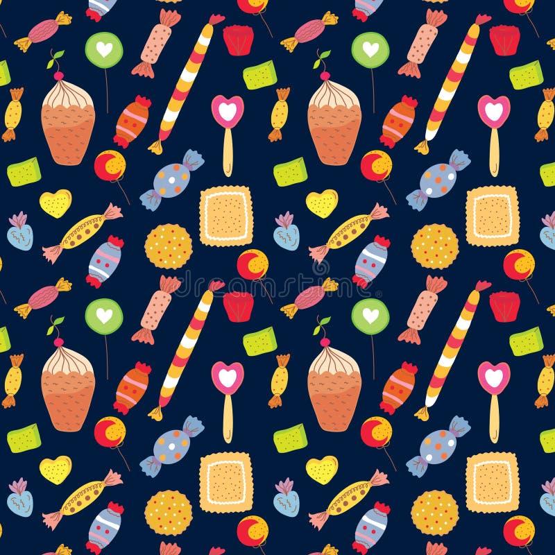 Fondo divertente dei dolci con le caramelle royalty illustrazione gratis