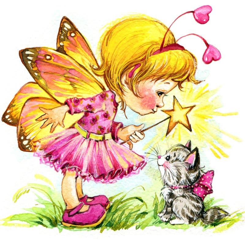 Fondo divertente del fatato dei bambini Illustrazione dell'acquerello illustrazione vettoriale