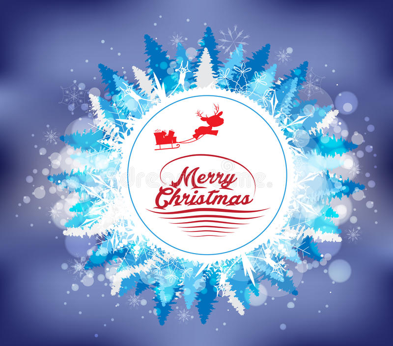 Fondo divertido de los elementos de la Navidad del papel del vintage con tipografía stock de ilustración
