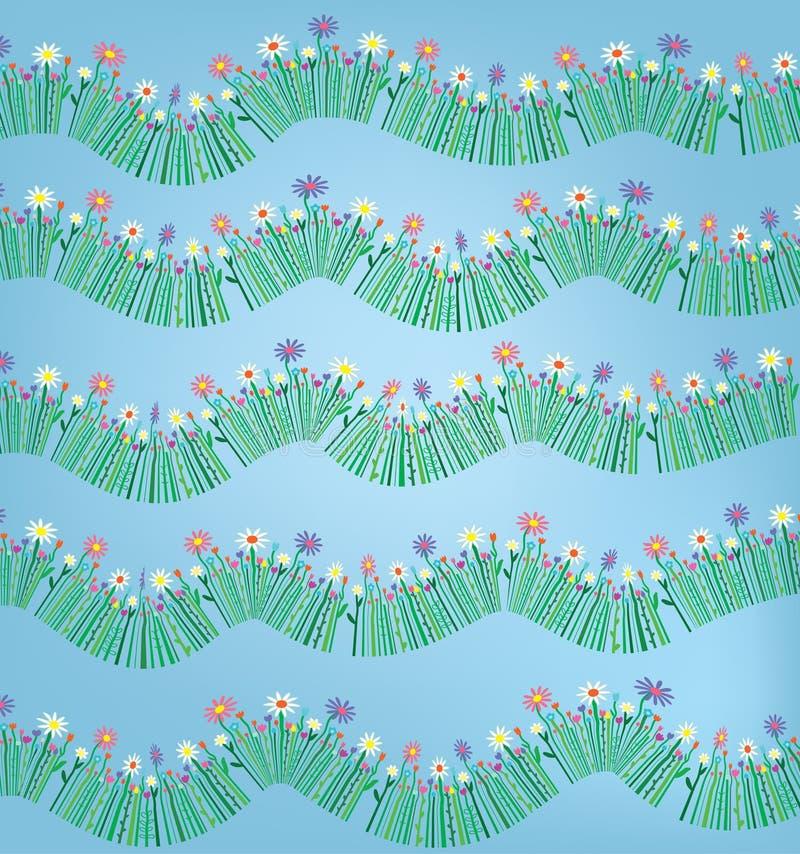 Fondo divertido del modelo de la hierba y de la flor libre illustration