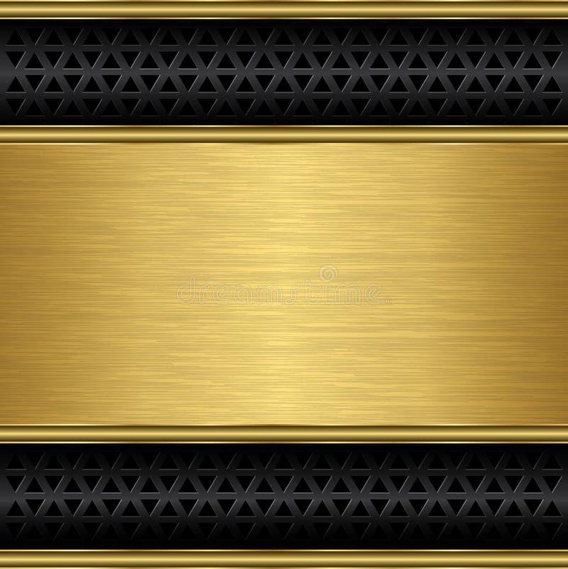 Fondo dorato astratto con la griglia dell'altoparlante royalty illustrazione gratis