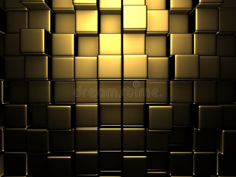 Fondo dorato astratto della parete dei cubi illustrazione vettoriale