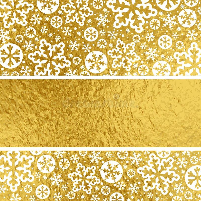 Fondo dorato con i fiocchi di neve bianchi, illus di Natale di vettore royalty illustrazione gratis