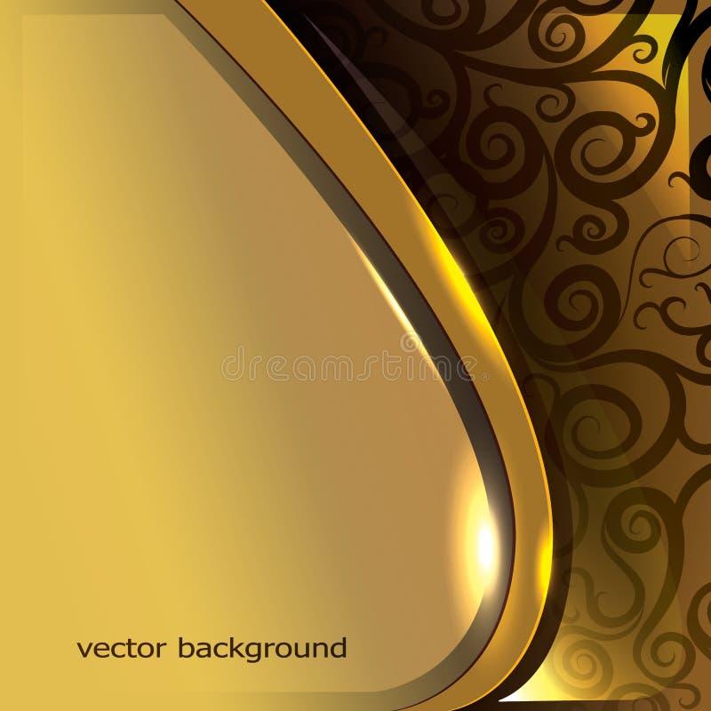fondo dorato con i turbinii ed i modelli illustrazione vettoriale