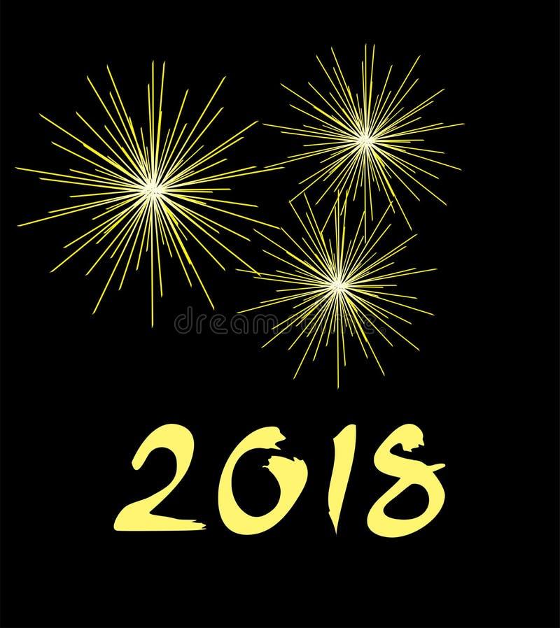 Fondo dorato dei fuochi d'artificio del nuovo anno 2018 royalty illustrazione gratis