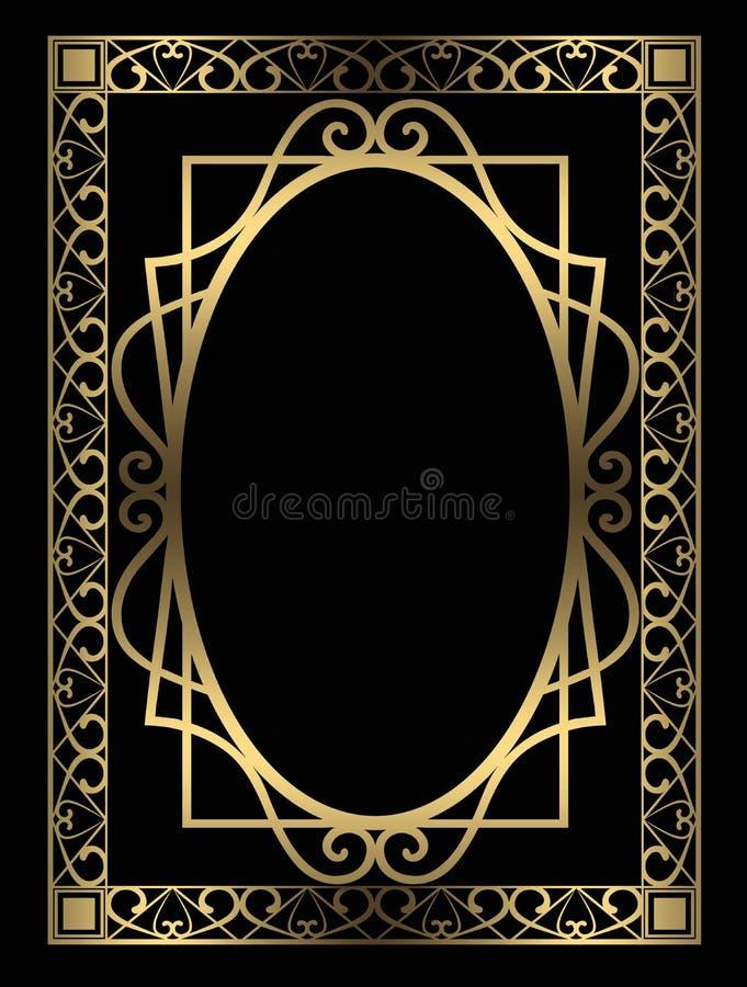 Fondo dorato del nero della decorazione della struttura illustrazione vettoriale