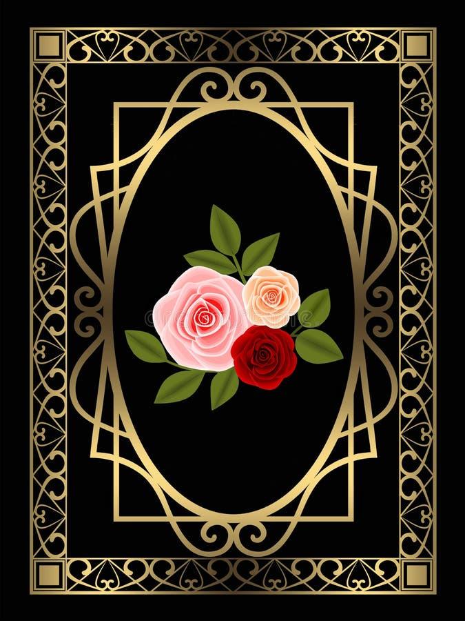 Fondo dorato del nero della decorazione della struttura con le rose e le foglie illustrazione vettoriale