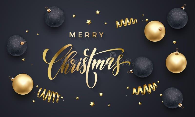 Fondo dorato del nuovo anno dei coriandoli della decorazione di vettore della cartolina d'auguri di Buon Natale illustrazione di stock