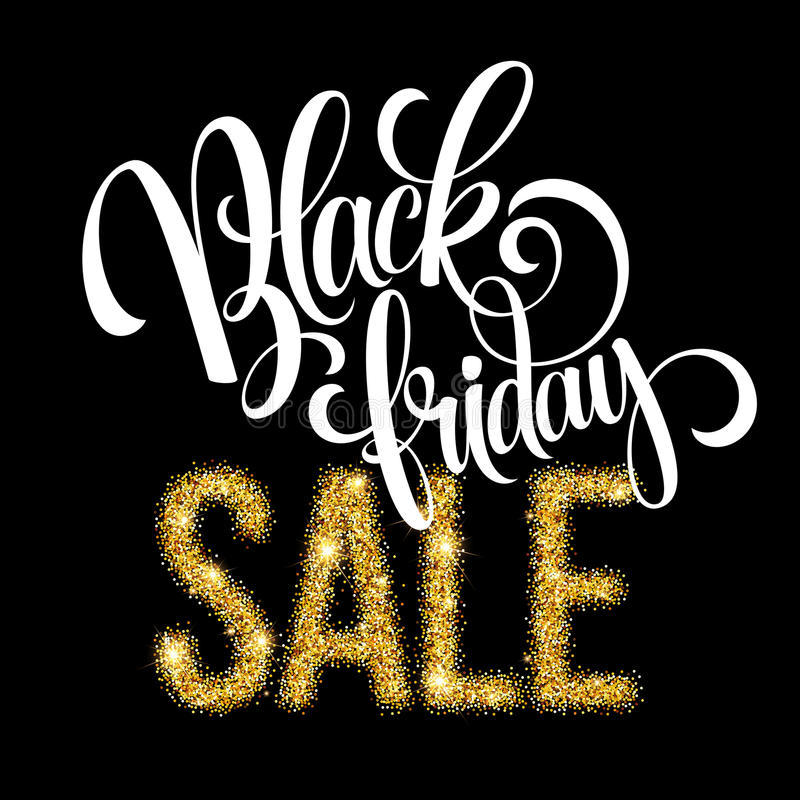 Fondo dorato dell'iscrizione di vendita di Black Friday Modello per la vostra progettazione, invito, aletta di filatoio, carta, r royalty illustrazione gratis