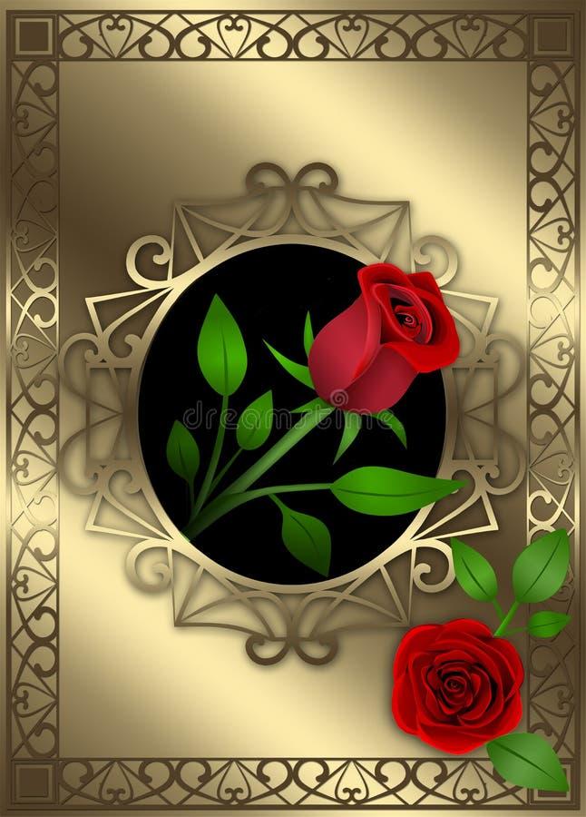 Fondo dorato della decorazione con le rose rosse e le foglie illustrazione di stock