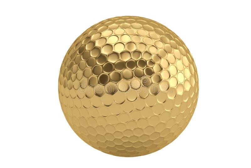 Fondo dorato di bianco del isolatedon della palla da golf illustrazione 3D illustrazione vettoriale