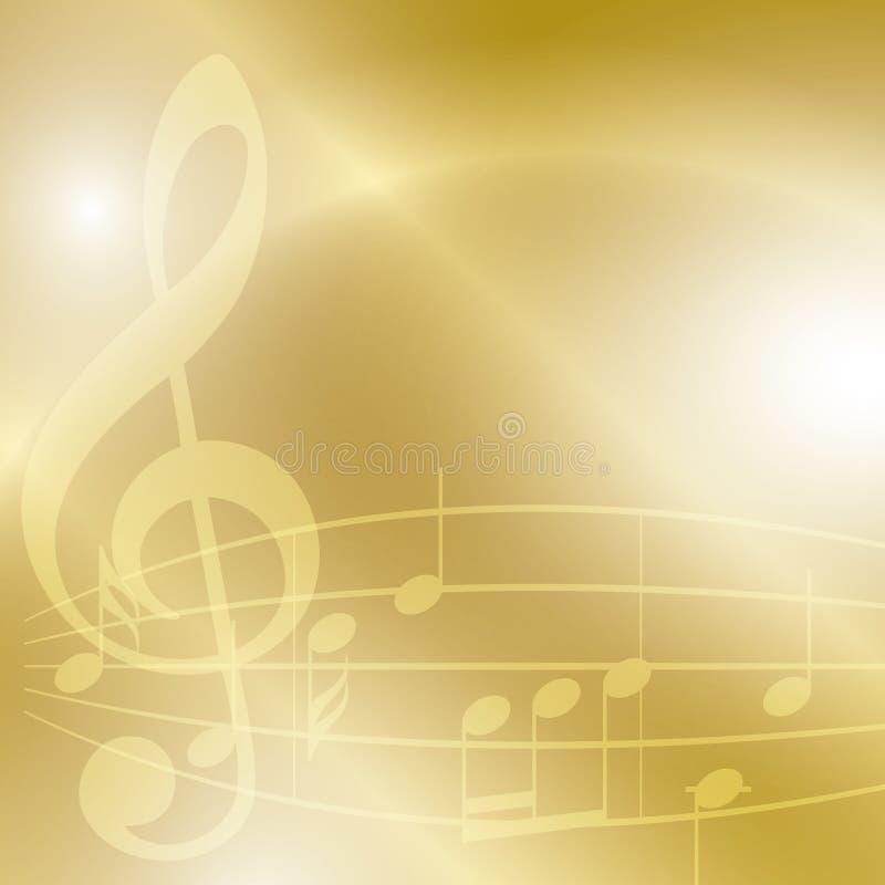 Fondo dorato di musica con le note e le luci illustrazione di stock