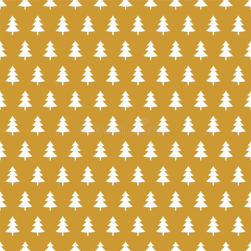 Fondo dorato di Natale con l'albero di natale bianco in una fila alternatamente royalty illustrazione gratis