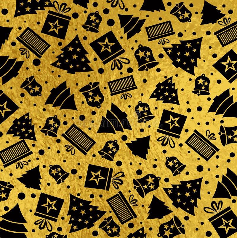 Fondo dorato di natale con la campana nera, stella, neve, albero, v illustrazione di stock