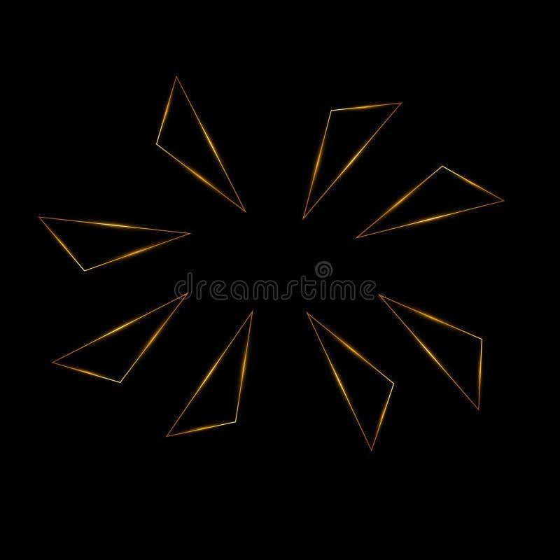 Fondo dorato geometrico con i triangoli Oro, scintillio, moderno illustrazione vettoriale