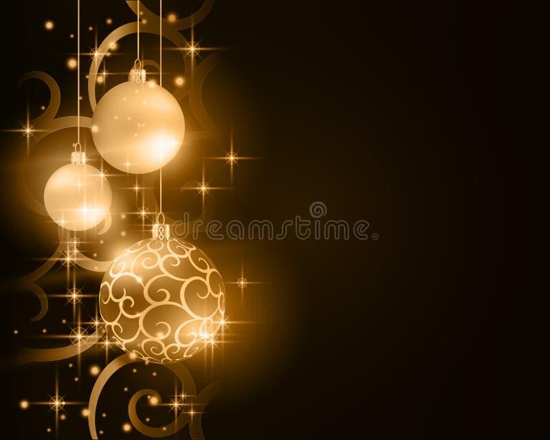 Fondo dorato scuro della bagattella di Natale illustrazione vettoriale