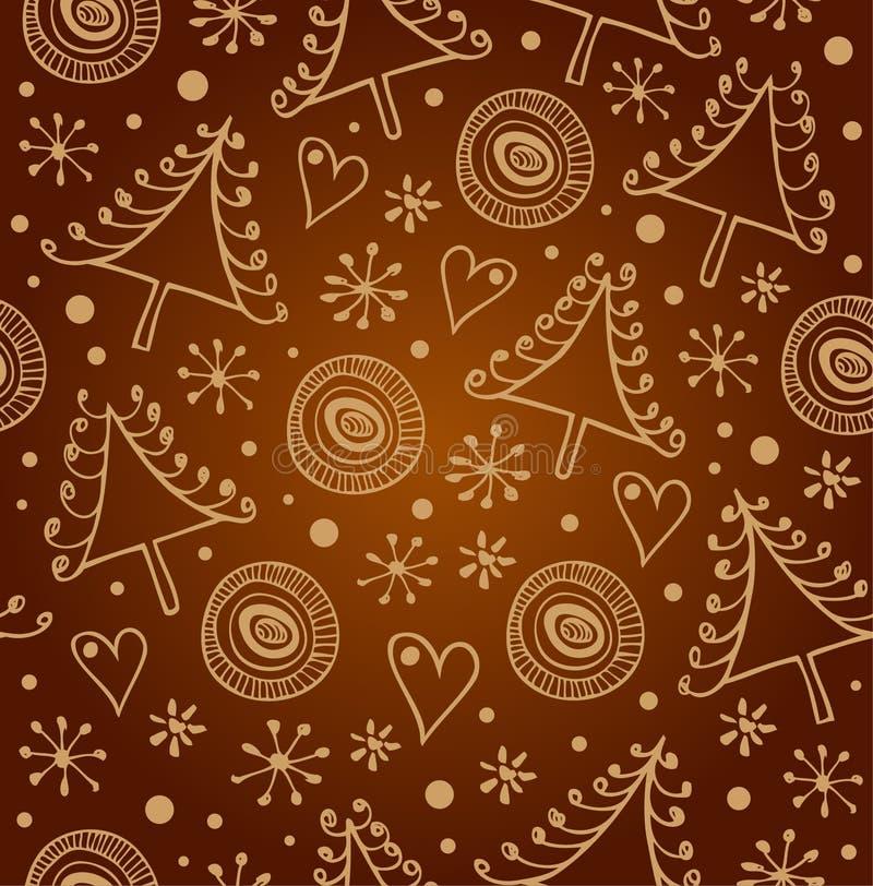 Fondo dorato senza cuciture di Natale E Struttura di lusso di natale con i fiocchi di neve e gli abeti rossi per wallpape illustrazione vettoriale