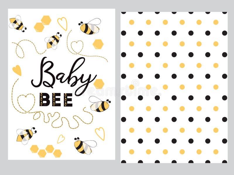 Fondo dulce adornado abeja linda del lunar de la miel del corazón de la abeja del bebé del texto del sistema del diseño de la ban libre illustration