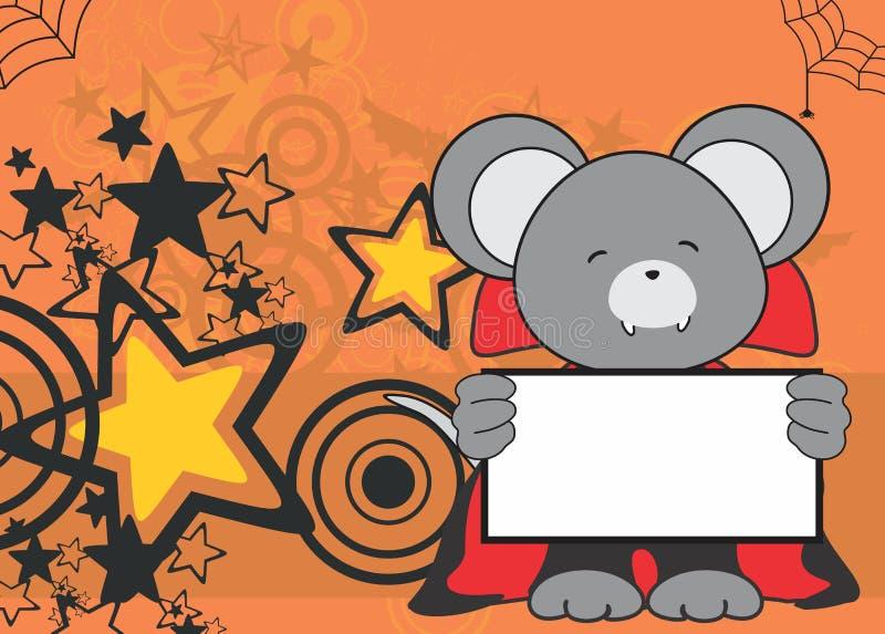 Fondo dulce de Halloween del traje de Drácula del ratón del bebé libre illustration