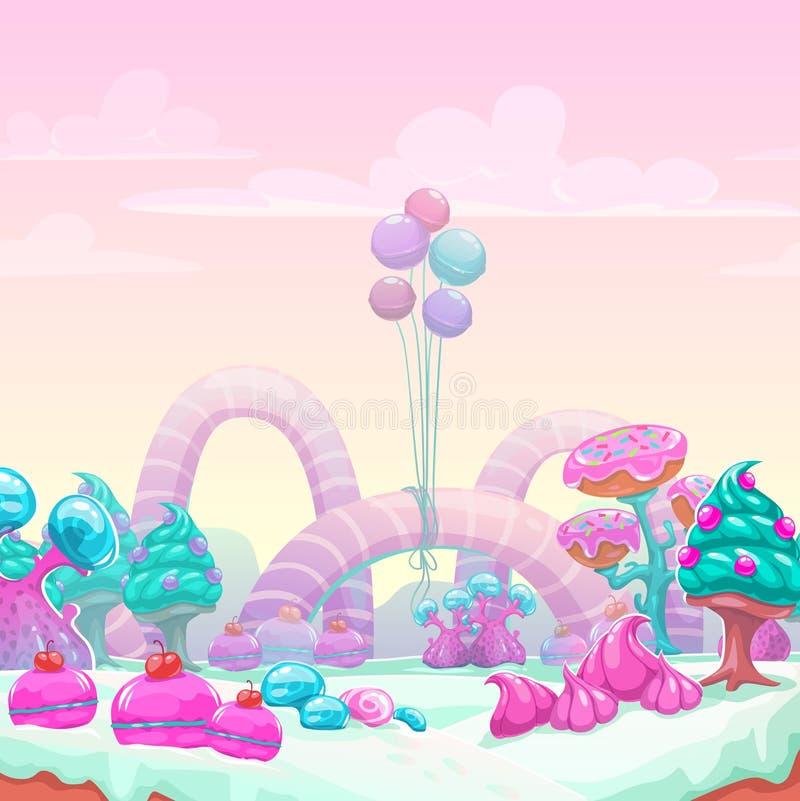 Fondo dulce del mundo de la fantasía hermosa ilustración del vector