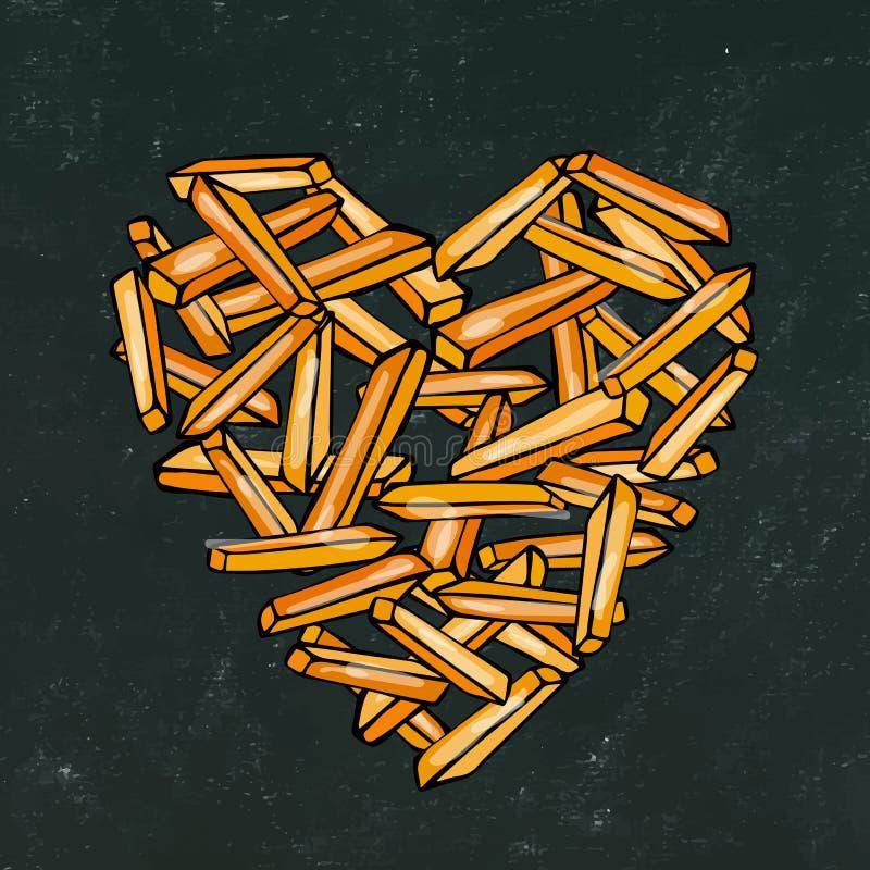 Fondo e gesso neri del bordo Cuore delle patate fritte della patata Amore Fried Potatoes Fast Food delizioso Amante Po degli alim fotografie stock libere da diritti