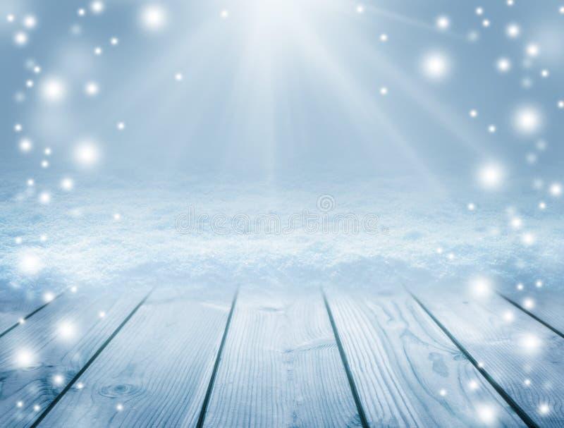 Fondo e invierno de madera azules Tabla y ventisca vacías Chr ilustración del vector