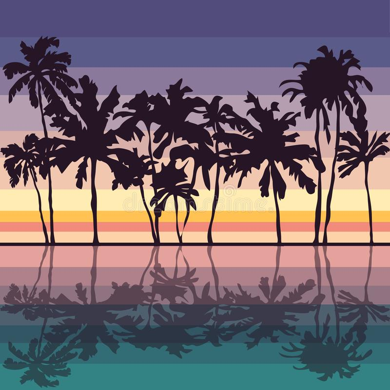 fondo e palme di tramonto fotografie stock libere da diritti