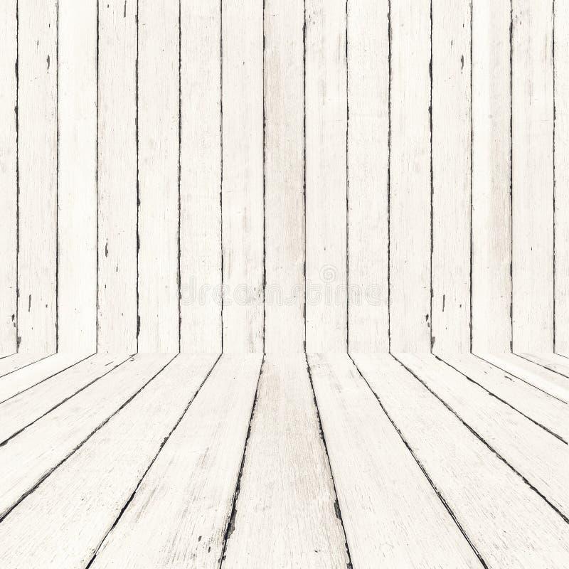 Fondo e pavimento di legno bianchi, fondo di legno della stanza, Interio fotografia stock