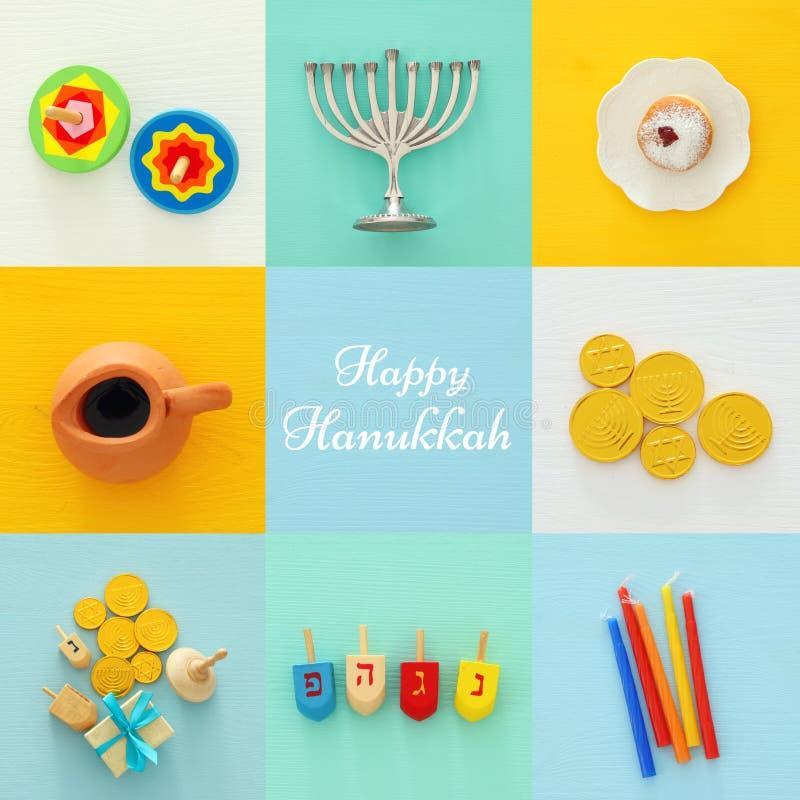 fondo ebreo del collage di Chanukah di festa con menorah tradizionale & x28; candelabra& tradizionale x29; e ciambella immagine stock