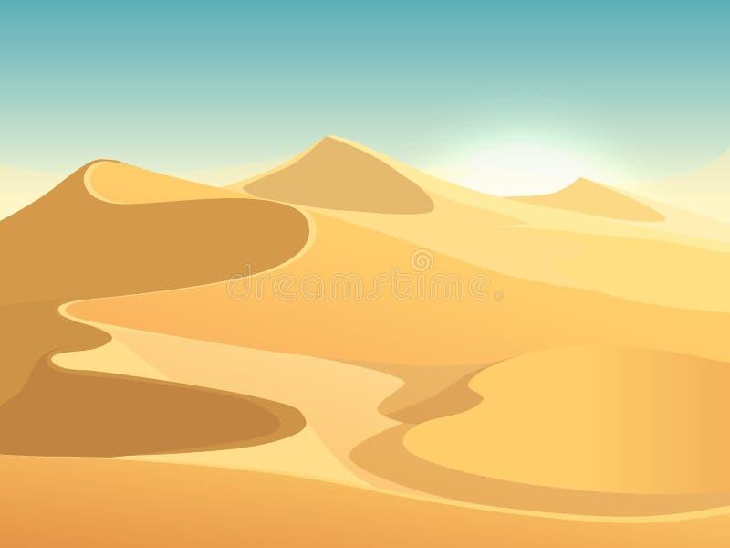 Fondo egipcio del paisaje del vector de las dunas del desierto stock de ilustración