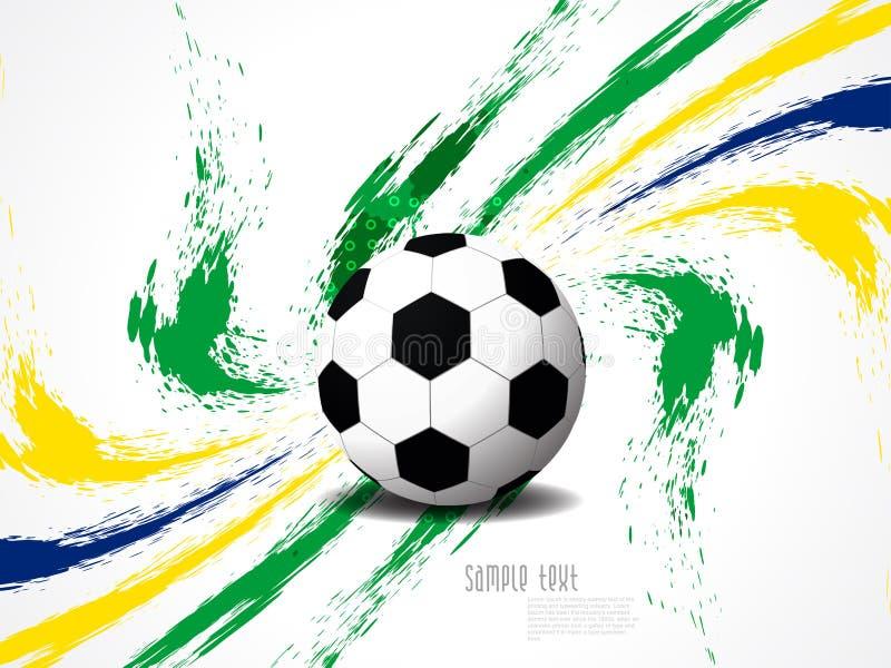 Fondo elegante creativo di calcio con la spruzzata di lerciume di colori del Brasile. illustrazione di stock