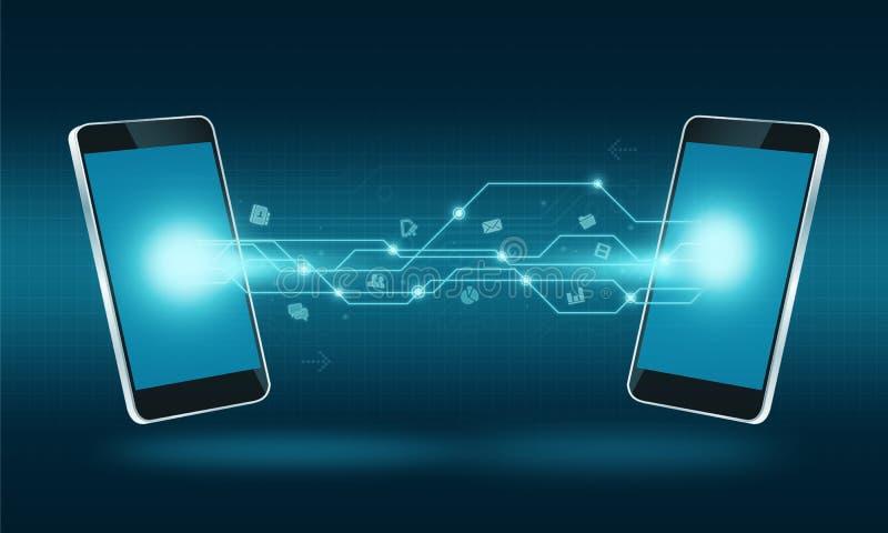 Fondo elegante de la conexión de la transferencia de Internet de la tecnología del teléfono ilustración del vector