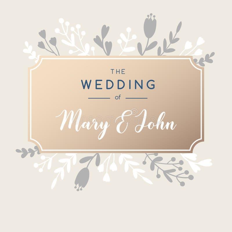 Fondo elegante de la invitación de la boda Diseño de la tarjeta de felicitación del vector libre illustration