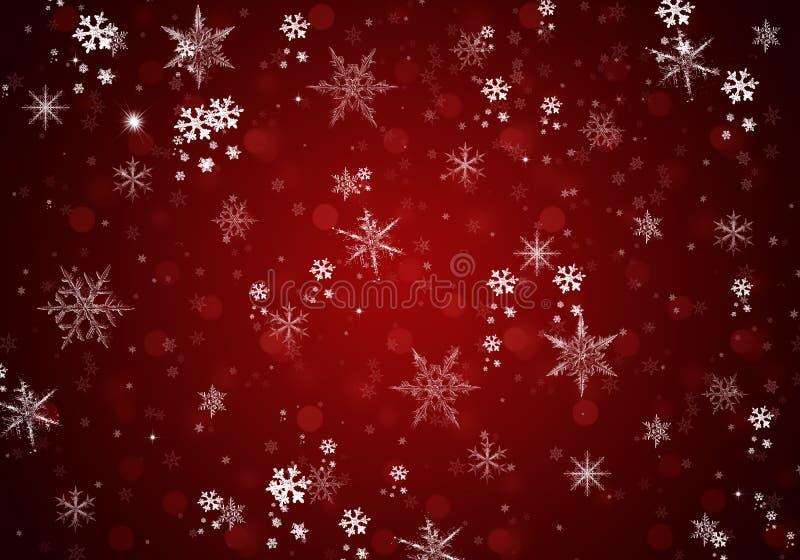Fondo elegante de la Navidad con los copos de nieve blancos ilustración del vector