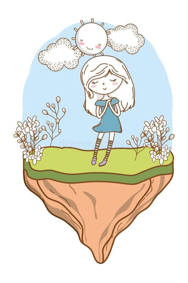 Fondo elegante de los frowers de la naturaleza del vestido del equipo de la historieta linda de la muchacha libre illustration