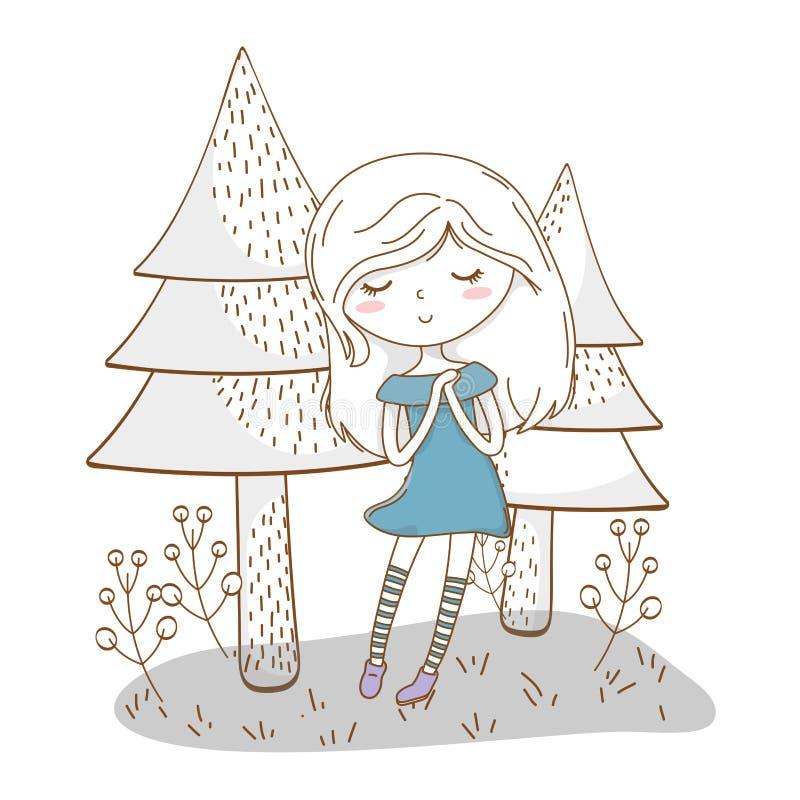 Fondo elegante de los ?rboles de la naturaleza del vestido del equipo de la historieta linda de la muchacha ilustración del vector