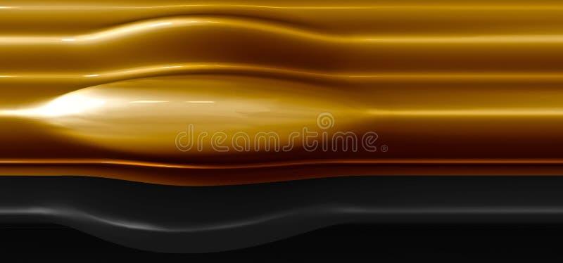 Fondo elegante, de lujo del oro con negro Fusión de un líquido de oro grueso Fondo costoso para la tarjeta de visita Fondo para ilustración del vector
