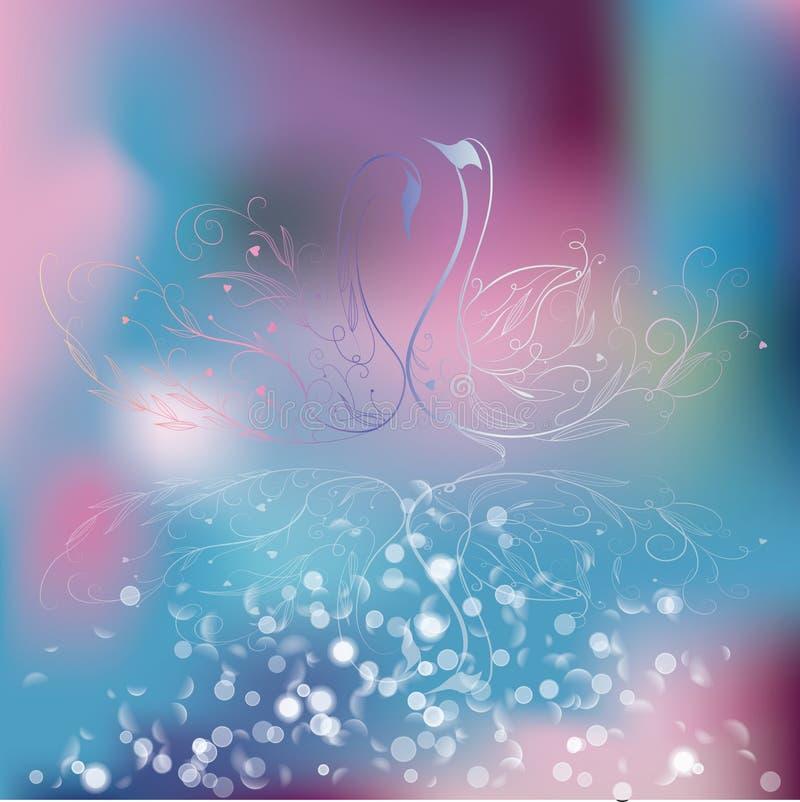 Fondo elegante del cisne y de la flor libre illustration
