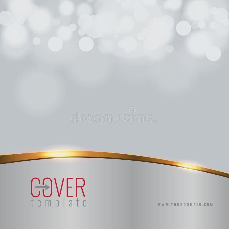 Fondo elegante del diseño de la cubierta del negocio del vector con la línea de oro efecto Bokeh de la falta de definición ilustración del vector