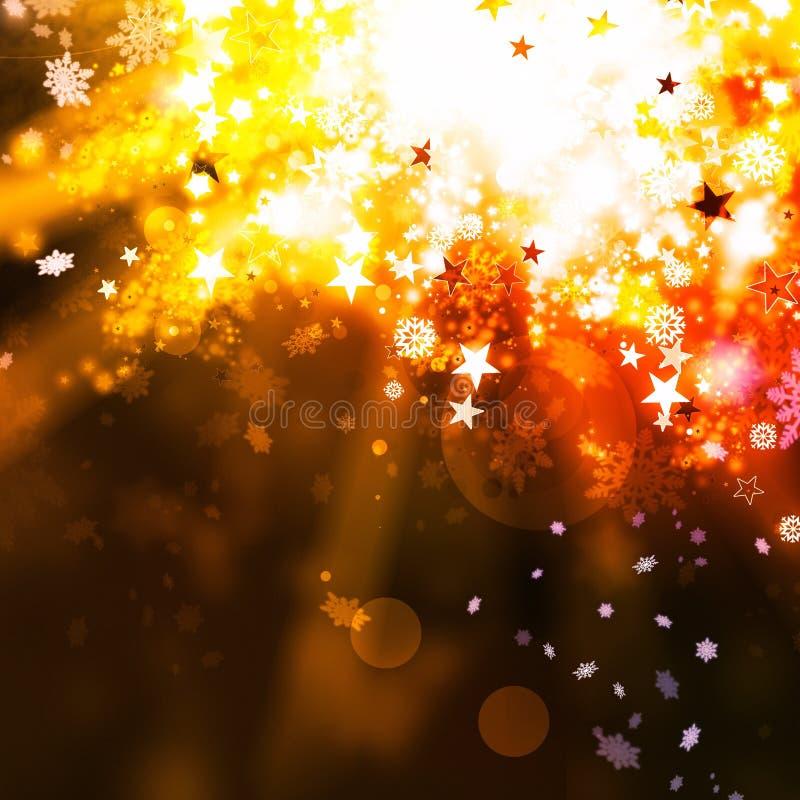 Fondo elegante dell'estratto di natale dell'oro con le luci e le stelle illustrazione vettoriale