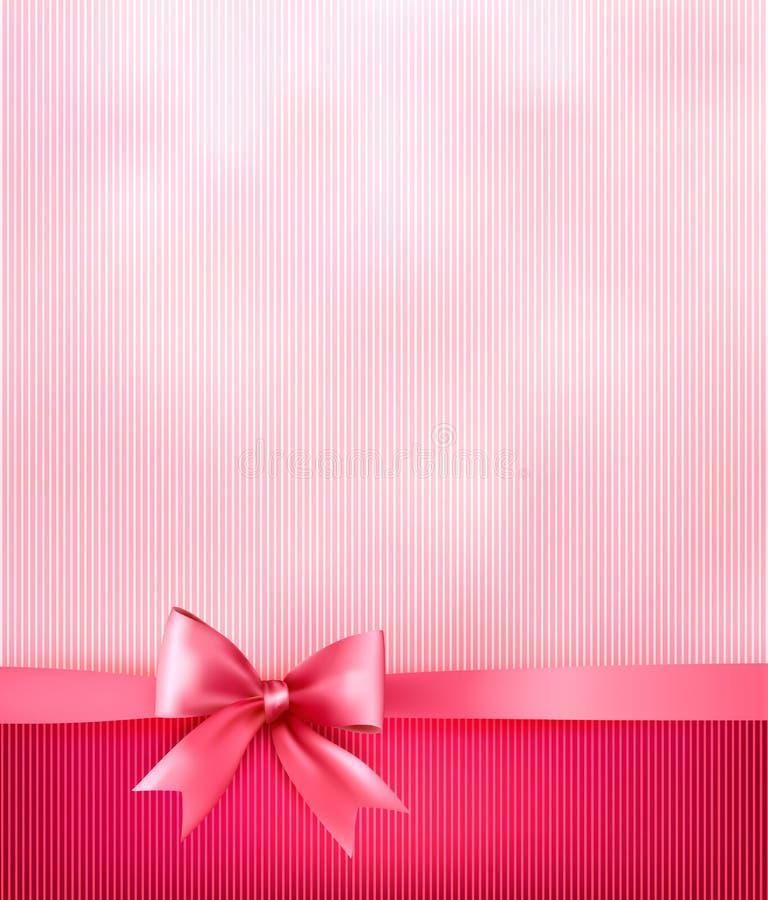 Fondo elegante di festa con l'arco di rosa del regalo illustrazione di stock