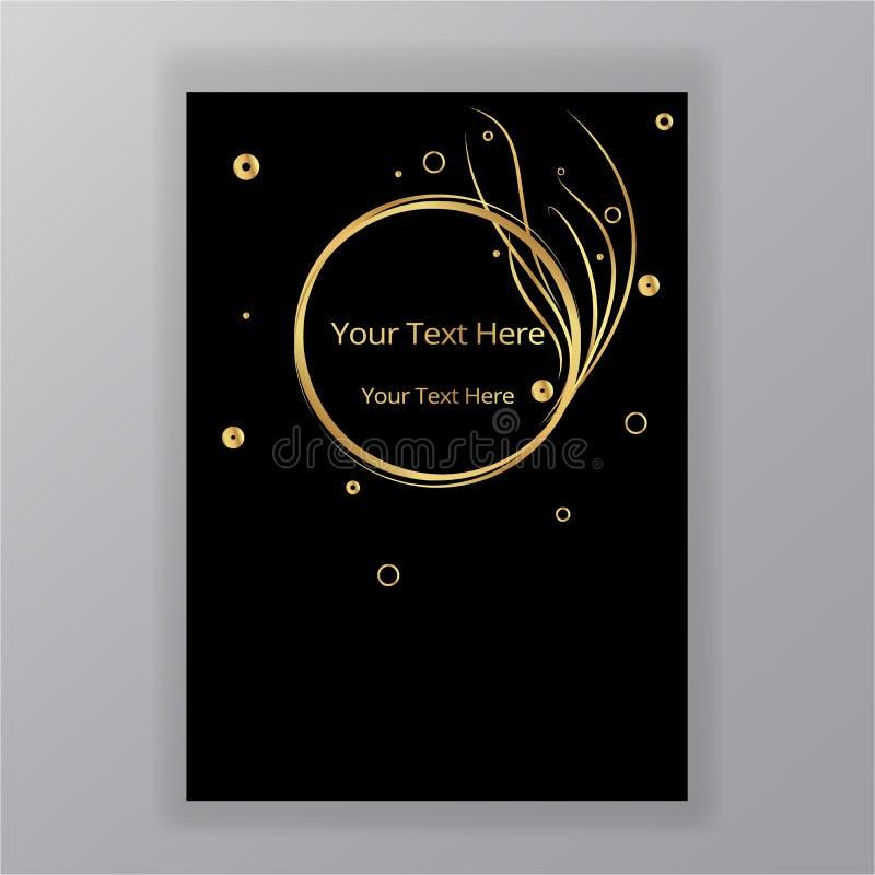Fondo elegante di lusso del cerchio nero dorato dell'estratto illustrazione di stock