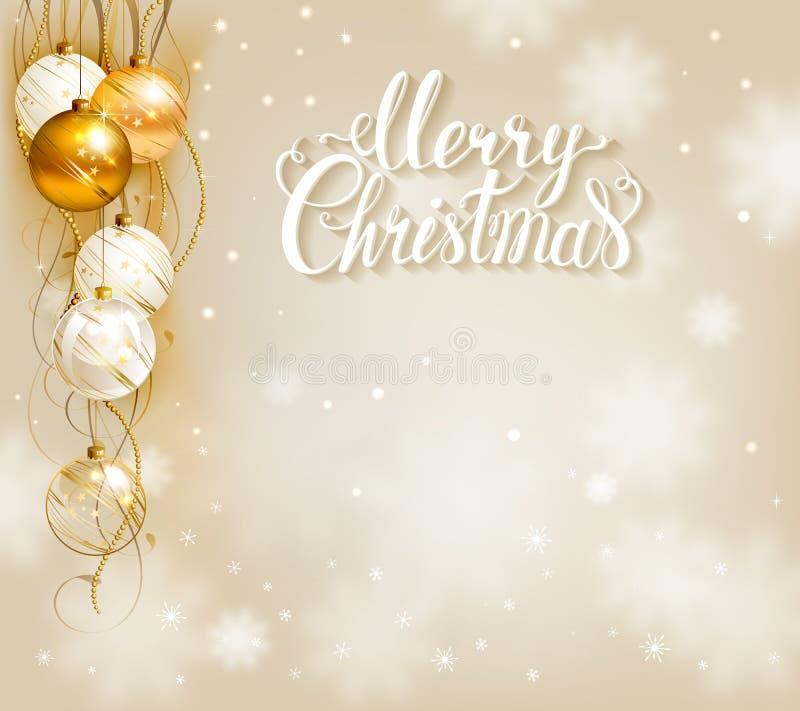 Fondo elegante di Natale con oro e le palle bianche di sera illustrazione vettoriale