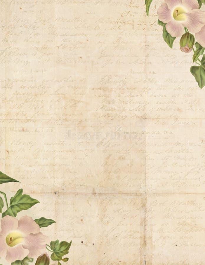 Fondo elegante lamentable de la vendimia con las flores stock de ilustración