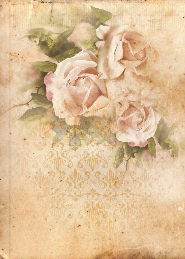 Fondo elegante lamentable del vintage de las rosas stock de ilustración