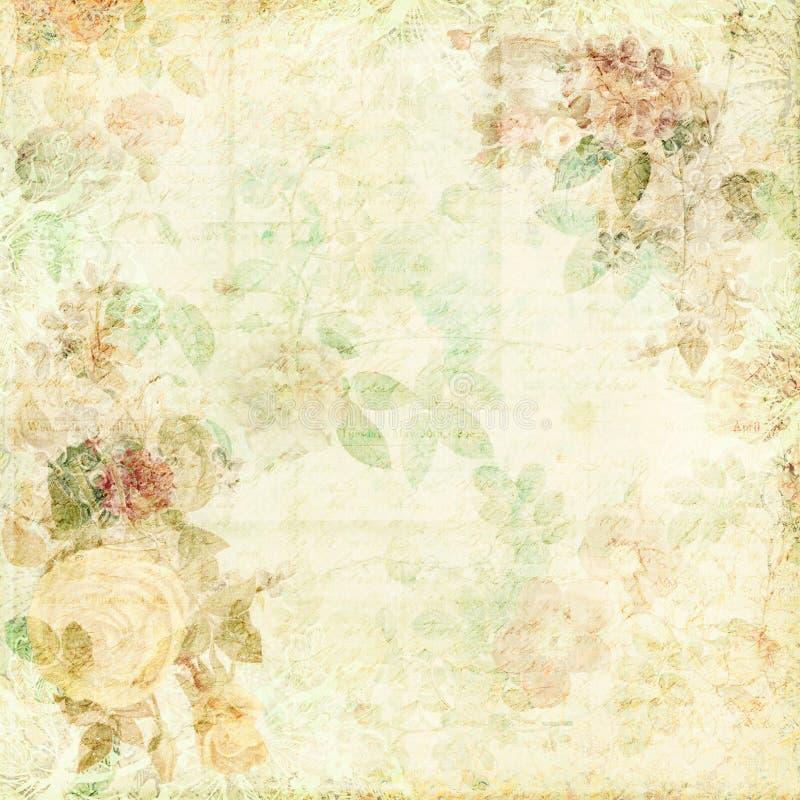 Fondo elegante lamentable verde con las flores ilustración del vector