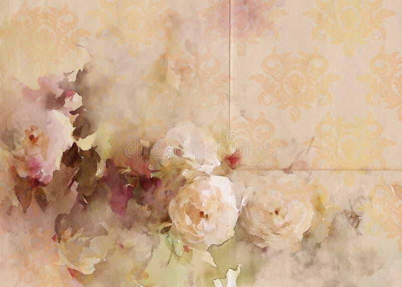 Fondo elegante misero d'annata delle rose illustrazione vettoriale