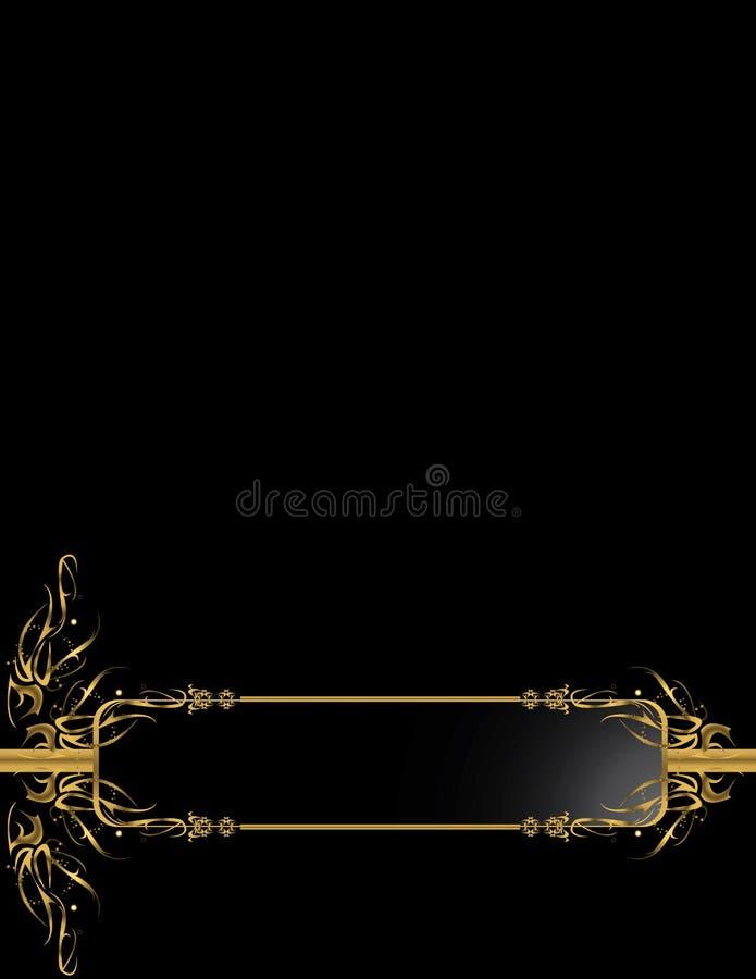 Fondo elegante negro 1 del oro ilustración del vector