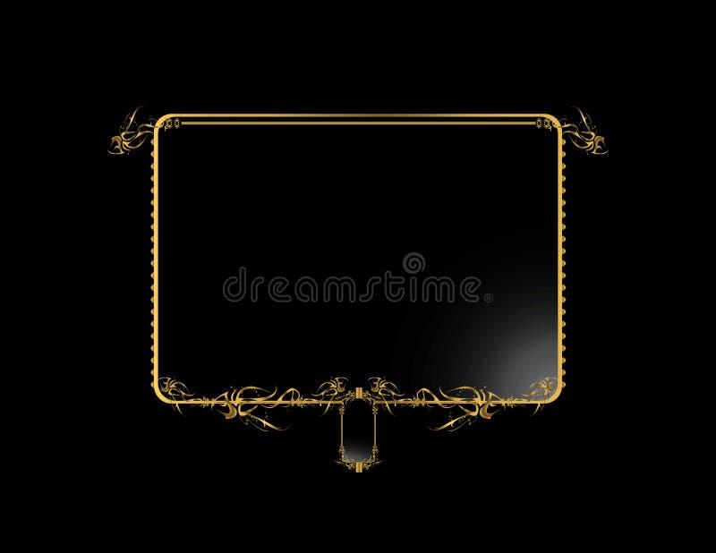 Fondo elegante negro 3 del oro ilustración del vector
