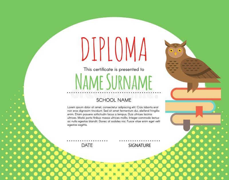 Fondo elemental preescolar del certificado del diploma de los niños del vector libre illustration